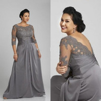 Wholesale Grey Floor Length Chiffon Dresses - Hot Sale Plus Size Mother of the Bride Groom Dress Grey Lace Appliqued Top Illusion Bateau Neck 3 4 Sleeves Wedding Party Gown