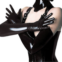 Wholesale Woman Leather Lingerie Gloves - Black Women Long Gloves Sexy Lingerie Punk Rock Cosplay Fashion Wild Shiny Faux Leather Five Fingers Gloves