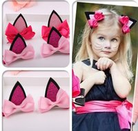 Wholesale Ears Hair Clip - Girl's Cute cat ears bow Barrettes girl bowknot Hairpins headdress children's hair clips Kids Hair Accessories jewelry
