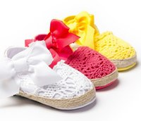 Wholesale Weave Baby Shoes - Girl Cute Big Bow Weave Sandals Baby Moccasins Kids Children Infant Shoes Toddler Red White Soft Sole Cotton Fabric First Walker Shoes I4508