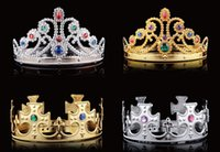Wholesale King Crowns Wholesale - Fashion Cosplay Crown King Headwear Queen Grommet Royal Crown With Diamond Halloween Party Supplies