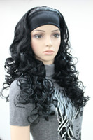 Wholesale Half Wig Hair Pieces - Wholesale free shipping >>>>Lastest style 3 4 with headband hair piece black curly long women's half wigs