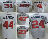 Wholesale Greg Maddux Baseball - Cheap Throwback Men's 1995 Baseball Jerseys 44 Hank Aaron 31 Greg Maddux 29 John Smoltz 47 Tom Glavine Stitched Jersey