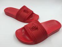 Wholesale White Flip Flops Men - 2017 sandals Medusa Scuffs Brand men summer huaraches flip flops slippers black red white blue loafers beach slides designer sandals