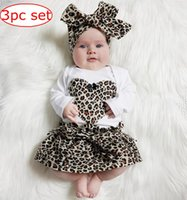 Wholesale Girls Tied Skirt - INS Spring new kids leopard love heart romper & infant tutu skirt & headband Suit Boys Outfit bow tie shirt+ stripe casual pants Boy Suit