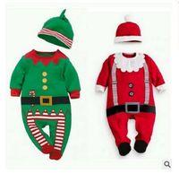 Wholesale Free Shipping Clothing Playsuit - Romper Boy Girl Christmas Jumpsuit Hat Set Newborn Baby Xmas Reindeer Romper Playsuit Clothes Xmas Christmas Gifts 4 Style Free Shipping