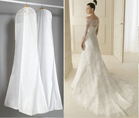 Wholesale large bridal gowns - High Quality Large All White Dust Bags For Wedding Dress Gown Long Garment Covers Travel Storage Dust Covers Bridal Wedding Accessories