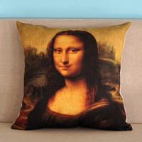 Wholesale Case Da - European Vintage Renaissance Oil Paiting Mona Lisa By Leonardo Da Vinci Cushion Cover Sofa Pillows Cushions Covers Linen Cotton Pillow Case