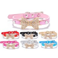 Wholesale Dog Harness Diamonds - 3size 7colors Serpentine gold diamond bow pet collar dog only Pet owner favors gifts