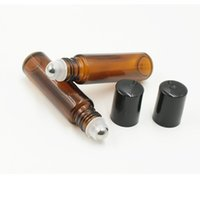 Wholesale Empty Amber Bottles - 300pcs lot 10ml Empty Roll on Amber Glass Bottles [STAINLESS STEEL ROLLER] Refillable Amber Roll On for Aromatherapy,Fragrance Essentia