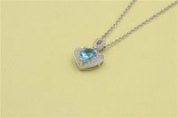 S925 Sterling Silver Jewelry Pendente Display Heart Shaped Pendant Blue Crystal Acessórios exclusivos no casamento e Py