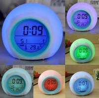 natur klingt licht großhandel-Mini Farbwechsel Digital LED 7 Farbwechsel Wecker Thermometer Mit Natur Sound Nachtlicht