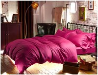 Wholesale Pink Doona Covers - Hot pink Egyptian cotton bedding sets 1000 sheets Luxury quilt doona queen duvet cover king size bed in a bag bedsheet linen 60 spread