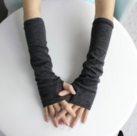 Wholesale Grey Gloves Cotton Long - Wholesale- 1 Pair 2016 New Stretchy Women Winter Long Fingerless Gloves Wrist Arm Hand Warmer Knitted Mittens Dark Grey