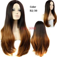 Wholesale Cheap Ombre Wigs - Two-tone big wave Cheap Hair Wig Fashion ombre celebrity wig big wave female elegant wigs synthetic