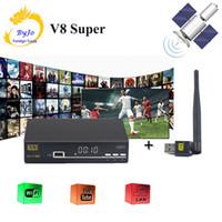 Wholesale Tuner Digital S2 - V8 Super BOX HD 1080P Satellite Receiver DVB-S2 Tuner openbox v8 Super Support Cccam Cline satellite receiver With USB Wifi