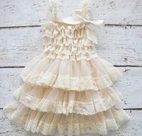 Wholesale White Lace Suspenders - Wholesale Girl Dress Lace Chilffon Layered Slip Dress Girl TUTU Dress 0-8Y 0321 Not Have Headband
