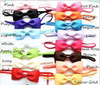 Wholesale Mini Tiara Headband - 20pcs baby 2.5inch hair bow with mini Thin Elastic headbands girl hair accessorie bow flower hair band slender rubber hair ties PJ5283