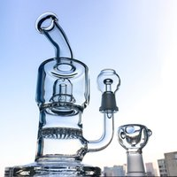 Wholesale Clear Glass Water Pipes - Double chamber glass bongs Honeycomb perc Dab rigs Showerhead Water pipes mini bongs 14mm Male Joint Clear bong Small Oil rig WP161