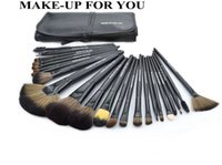 Wholesale Makeup Brushes Roll Up Case - MAKE-UP FOR YOU 24 pieces set Makeup Brushes Professional Beautiful Nylon Fiber Cosmetic Brushes with Roll Up PU Case Differ Sizes 4 Colors