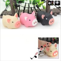 Wholesale Pig Keychains - Hot Sale Kawaii 3D Cartoon Animal Little Pig Action Figure Toys With LED Light and Sound Keychain Kids Gifts YYA901
