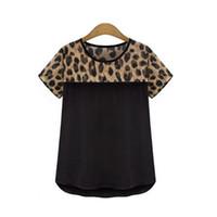 Wholesale Bear Sexy Top - WAIBO BEAR 2016 New Arrival Fashion Female Leopard Print Chiffon Blouse O-neck Tops Blusas Sexy Short Sleeved shirts