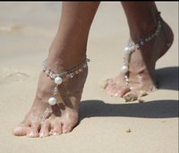 Wholesale Cheap Wholesale Anklets - swarovski elements beach wedding Barefoot sandals foot jewelry anklets chain jewelry gifts Free Shipping Cheap Anklets