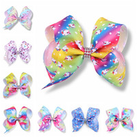 "Wholesale Rhinestone Bow Center - 20pcs girl Newest 5"" Unicorn hair bows clips character striation ombre bowknot hairpins with Rhinestone in center hair Accessories HD3511"