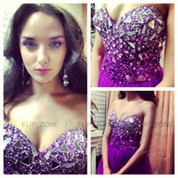robes robe violet achat en gros de-Luxury Rhinestone Purple 2015 Homecoming Robes Sweetheart Crystal Beaded Plus Size Mini Cocktail Short Party Prom Graduation Robes formelles