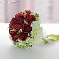 Wholesale Bridal Throw - Free Shipping In Stock Ready to ship red rose ribbon flower wedding Bridal Bouquet throw handflower