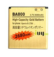 Wholesale Arc S Gold Battery - 2680mAh BA800 Gold Replacement Battery For Sony Ericsson Xperia S LT26i Arc HD Xperia V LT25C LT25i Batteries Batteria Batterij