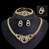 Wholesale Jewelry Sets K Gold Plated Hot Sale Design Austrian Crystal Necklace Bracelet Earrings Sets For Women Wedding Set GE06524