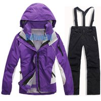 Wholesale Snowboard Jackets Brands - Wholesale-New Brand women outdoor Ski suits,2in1 winter waterproof windproof hiking camping ski suit snowboard Sports ski Jacket and pants
