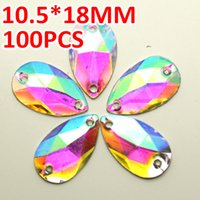 Wholesale Button Decoration Base - Wholesale-10.5*18mm 100pcs Waterdrop Crystal AB Color Silver Base Sew On Rhinestone Beads, Sew On Stones buttons for Garment Decoration