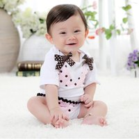 Wholesale Doomagic Girl Short - Wholesale-Hot Sale Doomagic baby rompers newborn one-pieces romper shirts baby girl short sleeve hot jumpsuit overall babywear D13