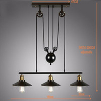Wholesale vintage industrial edison pendant - Wholesale-2015 Vintage American Country Loft Edison Lifting Light Industrial Pulley Pendant Light Adjustable Lamp Bar Decor wheel Light