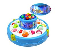 Wholesale Electric Music Rotating - Child Educational Electric Rotating Magnetic Fishing Game Playset Toys Double Fish Pool with the Music & Light