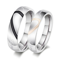 Wholesale Couple Wedding Rings Black Heart - Brand New Wedding Couple Rings Love Heart 316L Stainless Steel 18KP Wedding Engagement Bands Love Rings Free shipping