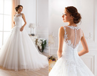 Wholesale Neckline Beading - 2015 Sexy Illusion Jewel Neckline A-Line Sheer Wedding Dresses Beaded Lace Fluffy Backless Wedding Gowns Princess Ball Gown Wedding Dresses