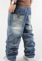 Wholesale baggy jeans fashion - New 2015 fashion Man loose jeans hiphop skateboard jeans baggy pants denim pants hip hop men trousers jeans 4 Seasons big size 30-44