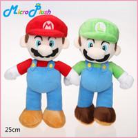 Wholesale Mario Luigi Games - Super Mario Bros Plush Toy 10inch 25cm 2 Styles Mario Luigi Stuffed Dolls Baby Toy