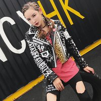 Wholesale Leather Jacket Women Punk Rock - 2018 Women Punk Party Street Letter Printing Leather Jacket Black Rivet Beading Long Sleeve Motorcycle Leopard Rock Coat