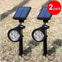 Wholesale Solar Powered Lights Color - New arrvial Solar Power 4 Bright LED White Warm White RGB 3 Color automatic switch Outdoor Garden Path Park Lawn Lamp Landscape Spot Lights