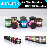 Wholesale Cheap Mini Metal Mp3 Player - S26 Mini Bluetooth Speaker Wireless Hand-free Subwoofers Speakers Heavy Bass MP3 Player support MIC TF Card Cheap Bluetooth Speaker