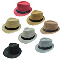 All'ingrosso-Calda Marketing Unisex Solid Braid Fedora Trilby Gangster Cap spiaggia di estate di paglia di Sun Cappello Panama June18