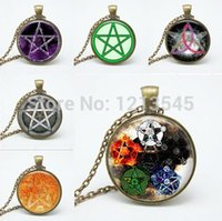 Wholesale Wicca Charms - 6 style personality Pentagram Wicca glass Pendant Necklace Occult charm necklaces pendants N150-155