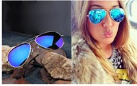 Wholesale Dark Sunglasses Driving - Full Blue Mirrored Sunglasses Dark Tint Lens Silver Frame wholesale price good quality best selling really nice