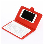 Wholesale Mobile Bluetooth Wireless Keyboard - Mobile phone Wireless keyboard Cover Bluetooth Keyboard Leather Case For iPhone 6 plus 7 iPhone X samsung S6 S8 S8 Plus with stand Holder