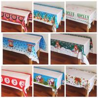 Wholesale print christmas table runner - 108*180cm Christmas Tablecloth PE Disposable Table Cloth Printed Christmas Festival Decorations Party Table Runner Ornaments KKA3043