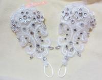ingrosso guanti bianchi-Nuovo arrivo pizzo diamante guanti da sposa accessori moda coreana sposata breve femminile in accessori da sposa modellazione di fiori